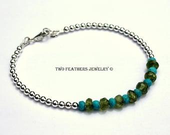 Turquoise Bracelet - Peridot Bracelet - December Birthstone - August Birthstone Bracelet - Mixed Gemstone Sterling Silver Bracelet