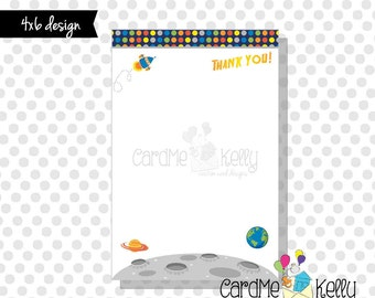 INSTANT DOWNLOAD Printable 4x6 Coordinating Outer Space Spaceship Astronaut Invitation Thank You - Digital File