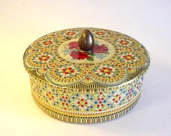 Lovely Vintage Tin Container w/ Embossed Floral- Holland