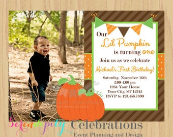 12 Printed Invitations By Serendipity Celebrations -Pumpkin Photo -Birthday -Baby Shower -Printing Service