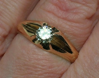 Unisex Engagement or Men's Pinky Ring, Rose Gold Diamond Solitaire, 18K Gypsy Set. Size 5