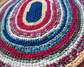"""Heavy Colorful 47"""" X 54"""" Crocheted Oval Rag Rug for your Yellow Room"""