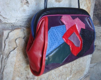 80s COLORBLOCK REPTILE LEATHER purse bag clutch designer pieced patchwork by Sharif
