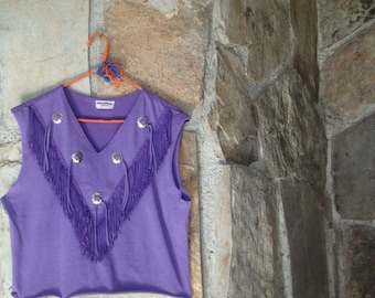 80s FRINGED CROP TEE vintage purple concho cowgirl western knit tank top M