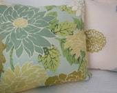 Designer Pillow - Large Dahlia Floral Design Pillow - Dusk Blue, Grayed Jade and Cream -  Reversible 20 x 20 Inch - Pillow Insert Included