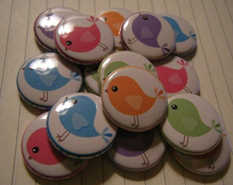 24 Cute Rainbow Birdy Bird Pinback Button Shower Goody Gift Treat  Party Favors Brooches