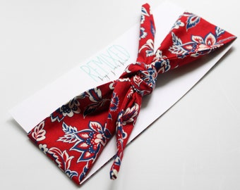 Vintage Inspired Head Scarf Red Floral- Headband Red White and Blue