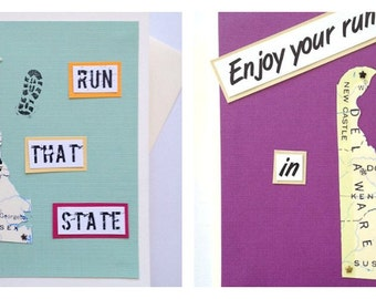 Delaware - Run (or RAN) That State or Enjoy Your Run Handmade Running Greeting Card - for Marathon, Half-Marathon, 10K, 5K Runners