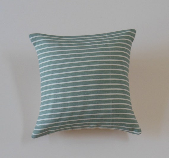 Teal Linen Pillows Striped Pillows Decorative by JacqueAnnDecor