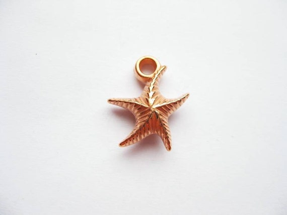 10 Rose Gold Tone Starfish Charms - C065