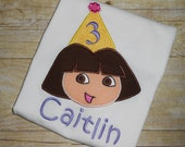 Custom Boutique Dora Birthday Applique t-shirt  - machine embroidered - personalized