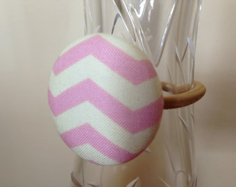 Pink Chevron Ponytail Holder - Heather Bailey Designer Fabric - Fabric Covered Button