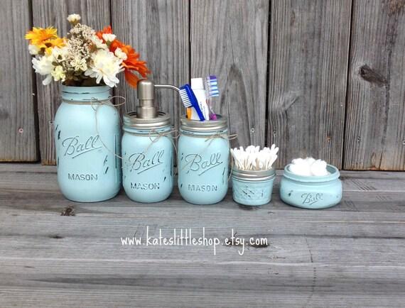 Mason Jar Bathroom Kit. Bathroom. blue. Farmhouse Decor. Rustic Home Decor. Quart Size Mason Jar. Mason Jar Soap Dispenser. Wedding Gift.