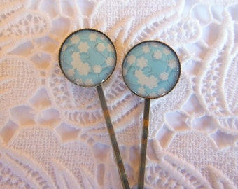 Sky Blue And White Flower Hair Clips Bobby Pins.