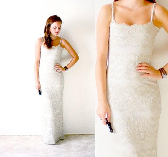 SALE Vintage ivory tan wedding dress bohemian casual lace