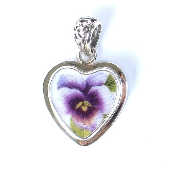Broken China Jewelry Purple Pansy Small Heart Sterling Pendant