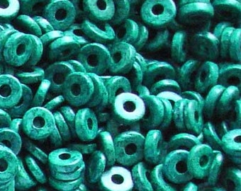 25 Pacific green 8mm Washers Greek Ceramic Beads
