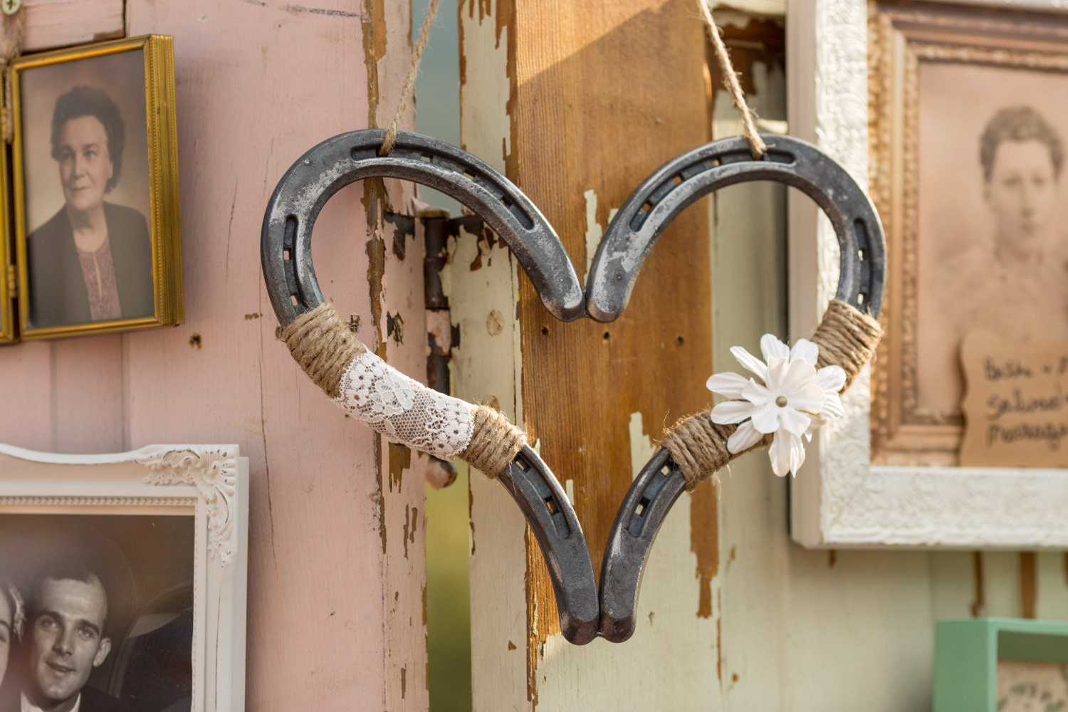 horseshoe heart rustic wedding decor barn wedding