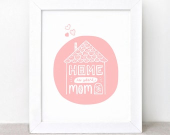 Home is Where Mom Is Art Print - 8x10 - Mothers Day Gift - Hand Painted Illustrated Print, Gift for Mom - Recycled Cardstock, Brown Art