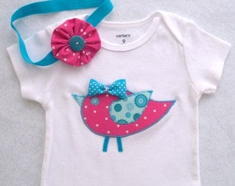 Baby Bird Bodysuit or Tee Shirt with Optional Headband