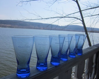 6 blue martell cordial glasses, mad men, etched glasses, drinks, barware