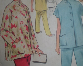 1954 McCall's Loungewear Hostess Pajamas with Manadarin Collar Sewing Pattern 8742, Size 16, Bust 34, Uncut