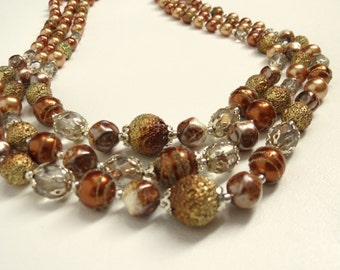 TEMPORORILY REDUCED was 39.95 vintage 60s Fall 3 Strand COPPER Baroque Graduated Sugar Bead Necklace Japan