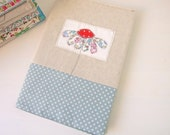 Embroidered applique liberty print daisy fabric notebook cover - with A5 notebook