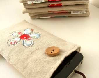 Embroidered ditsy blue Kidston flower and linen smartphone/ iphone / gadget case