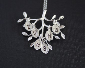 Beautiful Tree of life necklace with six initial leaves- STERLING SILVER,Mothe's Day gifts, family necklace, personalized gift,mom daughter