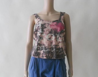 tie dye bleached recontructed boho tank top shirt . xs . small