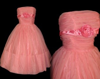 Vintage 1950s Dress//50s Dress//Pink// Garden Party//New Look//Mod//Mad Man//Strapless/Party Dress