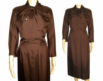 Vintage 1950s Dress  .  50s dress .  Oleg Cassini  .  Brown  .  Hourglass Couture Femme Fatale Garden Party Mad Man Cocktail Rockabilly