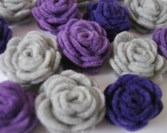Set of 20 pcs - handmade MINI Felt Rose Flower - Lavender, Gray, Orchid (MRO)