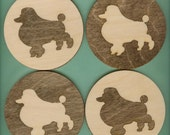 French Poodle Dog Wood Coasters - Laser Cut Inlaid Set of Four (CI-228)