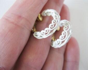 Napier Earrings White Swirl Hoops Vintage Wedding