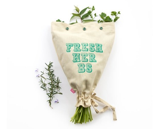FRESH HERBS: Reusable eco fresh garden herb storage bag. Motif ornamented drawn typography. Hemp organic cotton drawstring button bag.