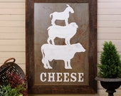 Kitchen Art Cheese Framed Rustic Farmhouse Decor Large Oversized Cheese Animals Vintage Wood