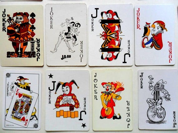 Instant collection of 18 vintage joker playing cards joker for Home by johker design