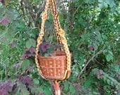 Brown Orange Yellow 29 Inch No Beads Macrame Plant Hanger