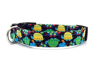 """Colorful Turtle Dog Collar - 5/8"""" Wide - Extra Small & Small Sizes"""