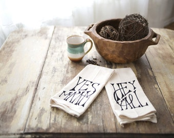 Southern Tea Towel Set - Hey Y'all & Yes Ma'am