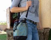 Blue Indian Silk Brocade Bucket Bag