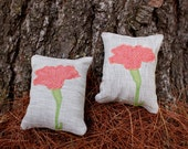 Set of Two Organic Lavender Sachets- Pink Carnation Applique- January Birth Flower