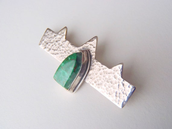 Chrysocolla & Sterling Silver Brooch Pin, Gothic Revival Style Blue Green Copper Minerals Stone Hammered Silver New Handcrafted Jewelry OOAK