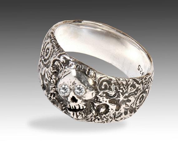 Skull Ring, Women's Custom Silver Skull Ring with Diamonds