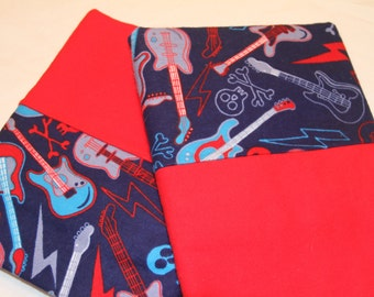 Blue and Red Guitar Pillowcases