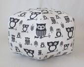 """24"""" Ottoman Pouf Floor Pillow Black White Hooty Owl"""