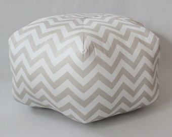 "24"" Ottoman Pouf Floor Pillow Taupe White Zig Zag Chevron"