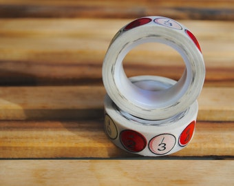 Washi Tape Roll (1) Numbers / Red